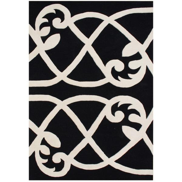 Alliyah Handmade Jet Black New Zealand Blend Wool Rug (9 x 12)