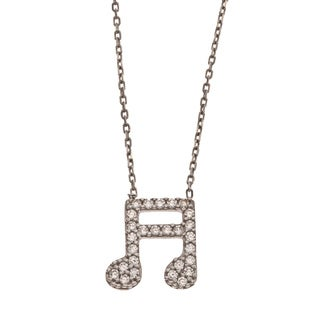 La Preciosa Sterling Silver Cubic Zirconia Musical Note Necklace