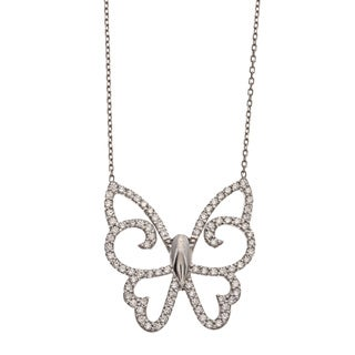 La Preciosa Sterling Silver Cubic Zirconia Butterfly Necklace