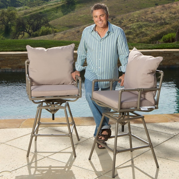 Northrup Pipe Outdoor Adjustable Barstool with Cushion (Set of 2) by Christopher Knight Home