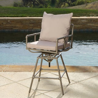 Northrup Pipe Outdoor Adjustable Barstool with Cushion by Christopher Knight Home