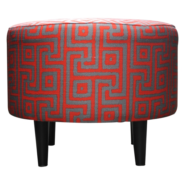 Round Sophia Atomic Red Ottoman