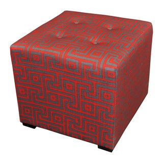 Sole Designs Red 4-button Tufted Ottoman
