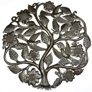 Handmade Tree of Life with Flowers Wall Art 24-inch Wall Art  , Handmade in Haiti