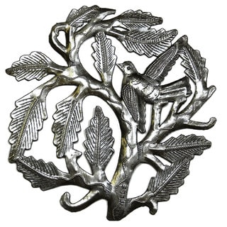Handmade Small Tree of Life With a Single Bird Metal Art - 8 inch , Handmade in Haiti