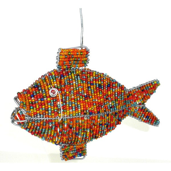 Handmade Orange Fish in Wire and Beads (South Africa)