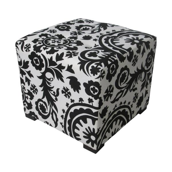 Sole Designs Black/ White Square Tufted Ottoman