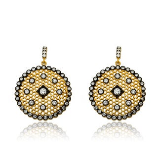 Riccova Two-tone Cubic Zirconia Lace Medallion Earrings