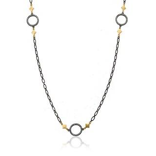 Riccova Black Rhodium-plated Cubic Zirconia Heavy Link Chain Necklace