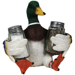 River's Edge Duck holding Glass Salt & Pepper Shaker Set