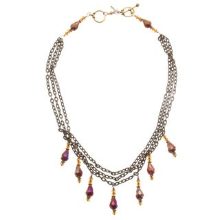 Brass 'Dramatic Effect' Crystal Necklace