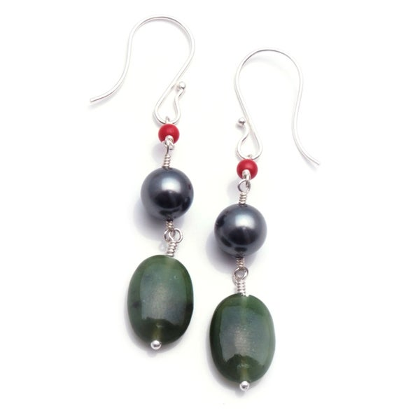 Sterling Silver 'Center Stage' Glass Pearl Earrings
