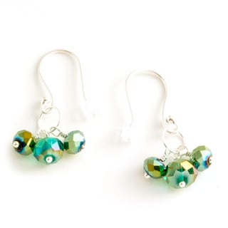 Sterling Silver 'Green With Envy' Crystal Earrings