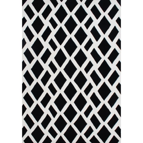Handmade Alliyah Hand-tufted Black/ Off-white New Zealand Blended Wool Rug (4' x 6')