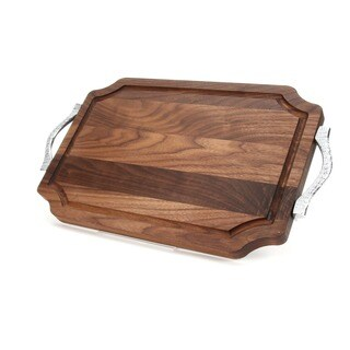 Carved Initial 12 x 18-inch Scalloped Walnut Cutting Board (More options available)