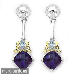 Marcel Drucker Sterling-Silver Gemstone and Diamond Accent Dangle Earrings