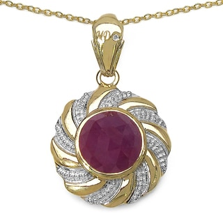 Marcel Drucker 14k Gold over Silver Pink Sapphire and Diamond Necklace