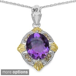 Marcel Drucker Sterling Silver Gemstone and Diamond Accent Necklace