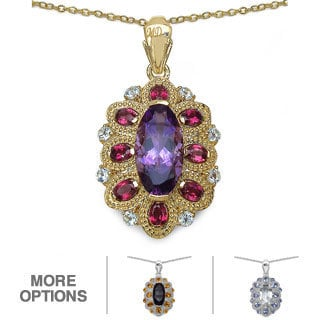 Marcel Drucker Sterling Silver with Gold Overlay Gemstone and Diamond Accent Necklace