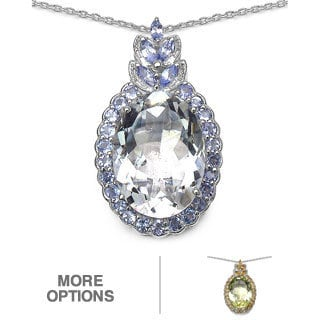 Marcel Drucker Sterling Silver Large Oval Gemstone and Diamond Accent Necklace