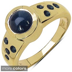 Marcel Drucker Gold-over-Silver Round-Cut Gemstone and Diamond Accent Ring
