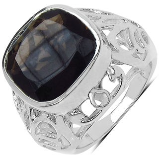 Marcel Drucker Silver Smoky Quartz and Diamond Accent Ring