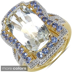 Quartz Marcel Drucker 14k Gold over Silver Gemstone and Diamond Accent Ring