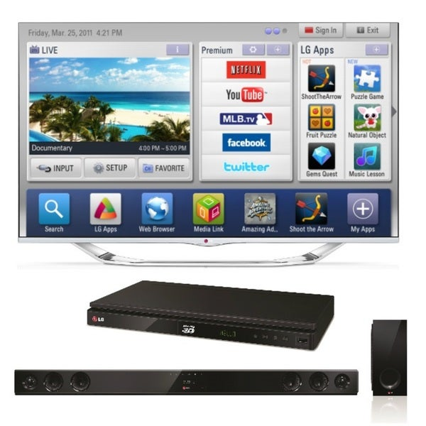 LG 55LA7400 55-inch 240hz Cinema 3D Smart LED TV with Wireless Soundbar/ Bluray Player