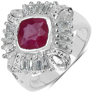 Marcel Drucker Sterling Silver Ruby, White Topaz and Diamond Accent Ring