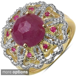 Ruby Marcel Drucker 14k Gold over Silver Gemstone and Diamond Accent Ring