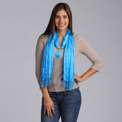 Peach Couture Turquoise Shell Pendant Scarf