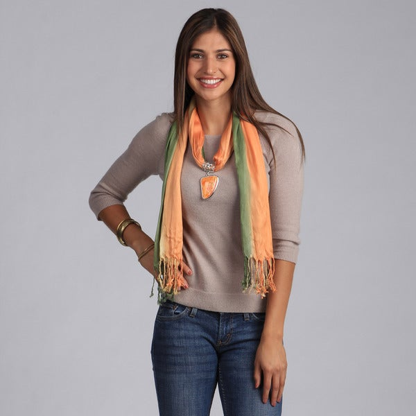 Peach Couture Sea-Shell-Charm Scarf Necklace in Orange/Green/Yellow. Opens flyout.