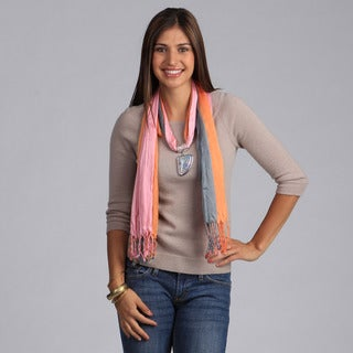Link to Peach Couture Sea Shell Charm Scarf Necklace Similar Items in Scarves & Wraps