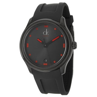 Calvin Klein Men's 'Visible' Black/ Red Swiss Quartz Watch
