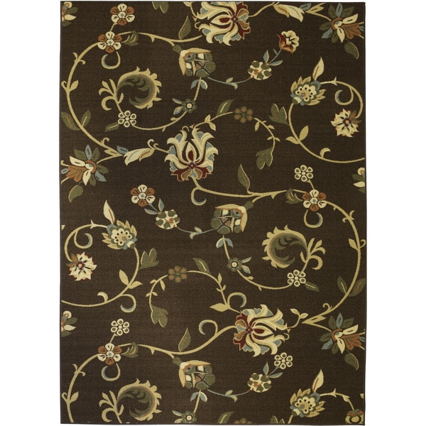 Shop Well Woven Oriental Swirls Non Skid Rubber Backing Brown Area