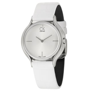 Calvin Klein Women's 'Skirt' Stainless Steel Swiss Quartz Watch with White Strap