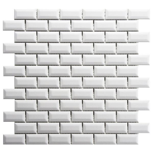 Somertile 12x12 Inch Victorian Subway Beveled White