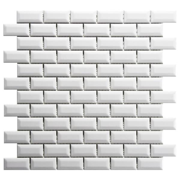 Somertile 12x12 inch victorian subway beveled white for 12x12 porcelain floor tile