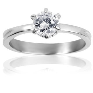Stainless Steel Classic Prong-set Cubic Zirconia Solitaire Ring - Silver