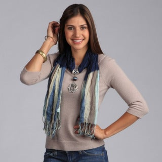 Link to Peach Couture Mixed Navy Shell Pendant Scarf - Navy/Aqua Similar Items in Scarves & Wraps