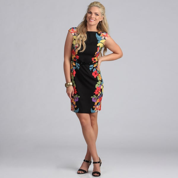 London Times Women's Floral Belted Sheath Dress