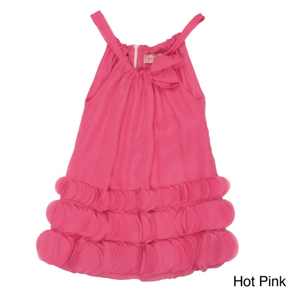 Paulinie Collection Girl's Pink Sleeveless Ruffled Dress