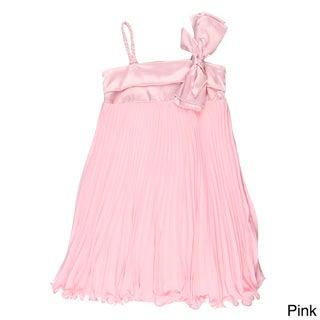 Paulinie Collection Girls' Pleated Sleeveless Braided Strap Dress