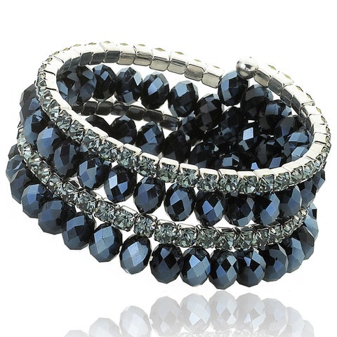Riccova Plated Faceted Crystal 3-row Snake Wrap Bracelet