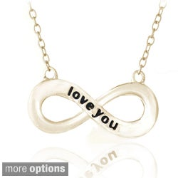 Mondevio Sterling Silver Inspirational 'Love You' Infinity Necklace (3 options available)
