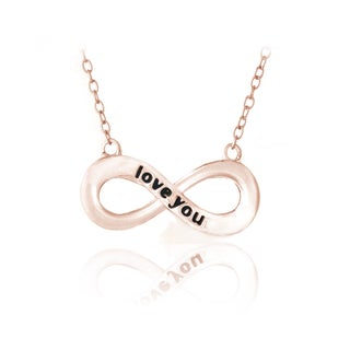 Mondevio Sterling Silver Inspirational 'Love You' Infinity Necklace