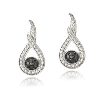 DB Designs Sterling Silver Black Diamond Accent Infinity Earrings
