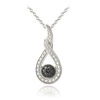 DB Designs Sterling Silver Black Diamond Accent Infinity Necklace