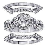 White Gold 2 5ct Tdw Diamond Halo Engagenent Bridal Ring Set