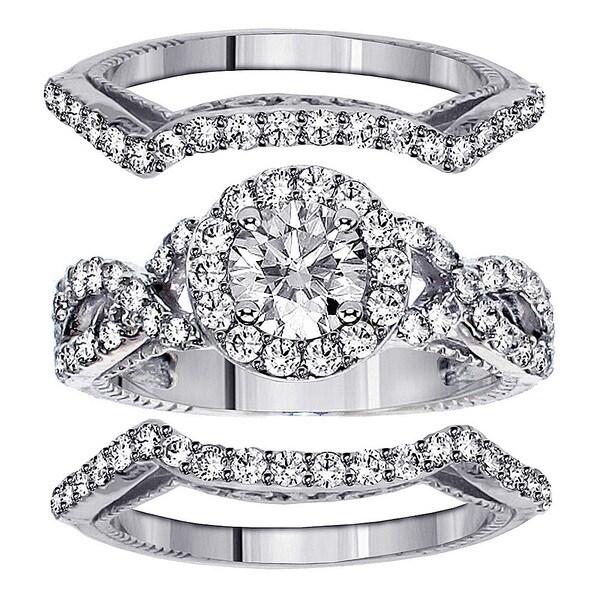 White Gold 2 2/5ct TDW Diamond Halo Engagenent Bridal Ring Set